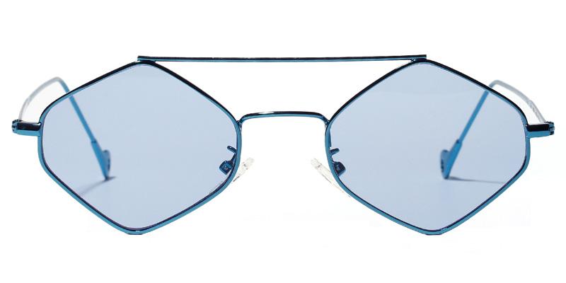 Tina Geometric Blue Sunglasses