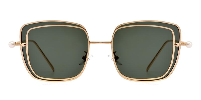 Joanna square gold&green sunglasses