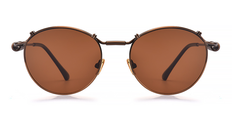 Kayla Round Brown Sunglasses
