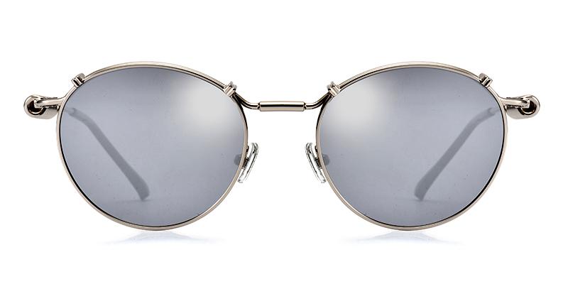Kayla Round Silver Sunglasses