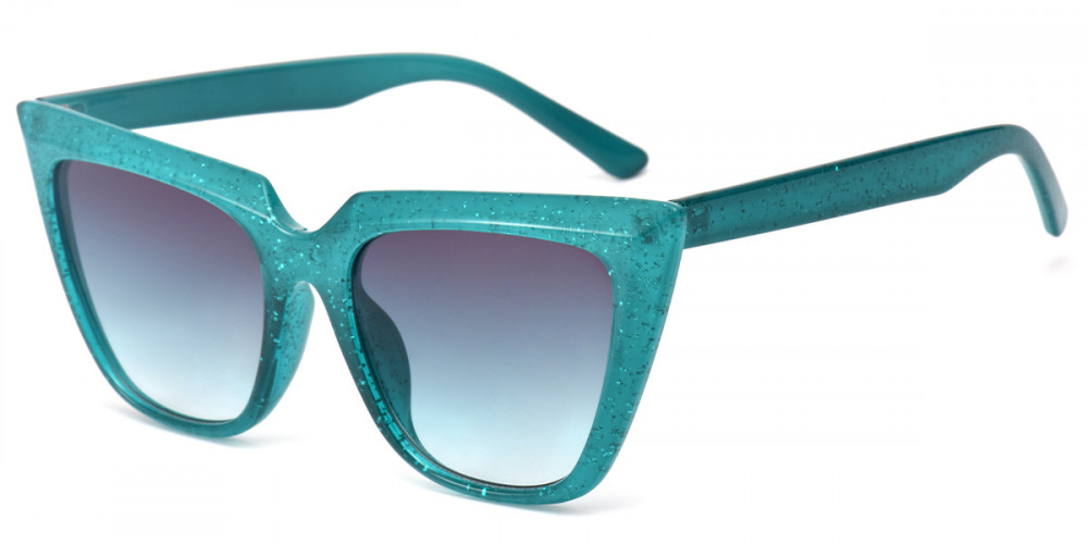 Cateye Green Sparkle Sunglasses
