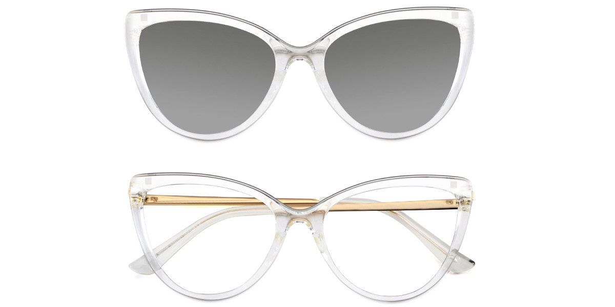 Simone Clear Cateye  Magnetic Snap-On Frame