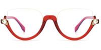 Cateye Red Rhinestone Frame