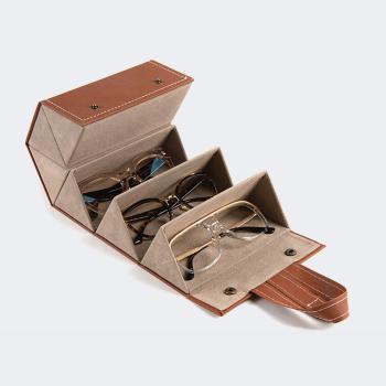 Leather Hanging Brown Eyeglasses Storage Case